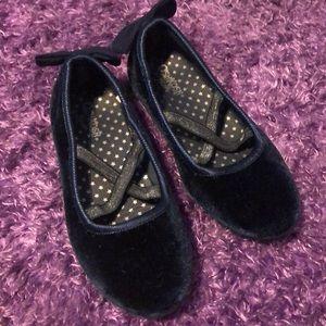 Navy Blue Velvet Ballet Dress Shoes